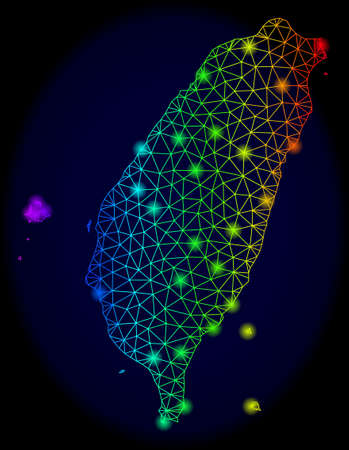 Helle Regenbogen-Mesh-Vektorkarte von Taiwan mit Blendeffekt. Abstrakte Linien, Dreiecke, Blendflecken bilden eine Karte von Taiwan auf dunklem Hintergrund. Mesh- und Lightspot-Elemente werden auf verschiedenen Ebenen platziert. Vektorgrafik