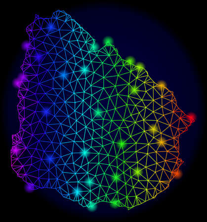 Glamour spectrum mesh vector map of Uruguay with glowing effect. Abstract lines, triangles, light spots forms map of Uruguay on a dark background. Illusztráció