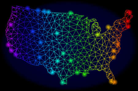 Bright spectrum mesh vector map of USA with glowing effect. Abstract lines, triangles, light spots forms map of USA on a dark background. Mesh and glare elements are placed on different layers.