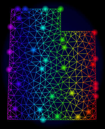 Glossy spectrum mesh vector map of Utah State with glowing effect. Abstract lines, triangles, light spots forms map of Utah State on a dark background. 向量圖像