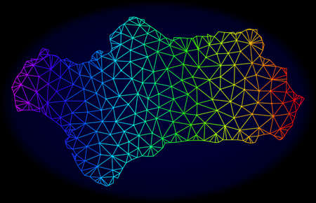 Spectrum colored mesh vector map of Andalusia Province isolated on a dark blue background. Abstract lines, triangles forms map of Andalusia Province. Carcass model for political templates. Ilustração