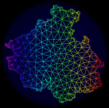 Rainbow colored mesh vector map of Altai Republic isolated on a dark blue background. Abstract lines, triangles forms map of Altai Republic. Carcass model for patriotic posters.