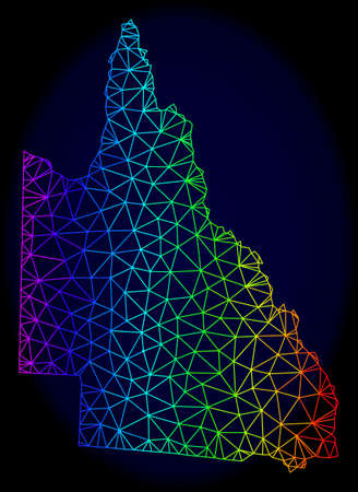 Rainbow colored mesh vector map of Australian Queensland isolated on a dark blue background. Abstract lines, triangles forms map of Australian Queensland. Carcass model for patriotic illustrations.