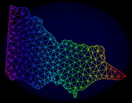Rainbow colored mesh vector map of Australian Victoria isolated on a dark blue background. Abstract lines, triangles forms map of Australian Victoria. Carcass model for patriotic purposes.  イラスト・ベクター素材