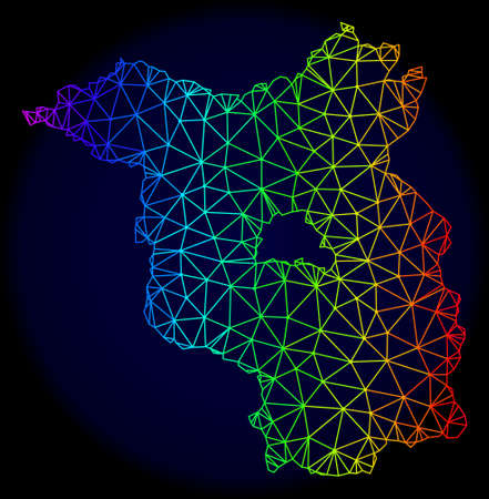 Spectrum colored mesh vector map of Brandenburg State isolated on a dark blue background. Abstract lines, triangles forms map of Brandenburg State. Carcass model for patriotic purposes. Illustration