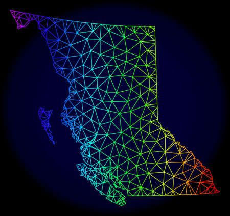 Spectrum colored mesh vector map of British Columbia Province isolated on a dark blue background. Abstract lines, triangles forms map of British Columbia Province.