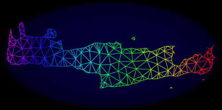 Rainbow colored mesh vector map of Crete Island isolated on a dark blue background. Abstract lines, triangles forms map of Crete Island. Carcass model for political illustrations.