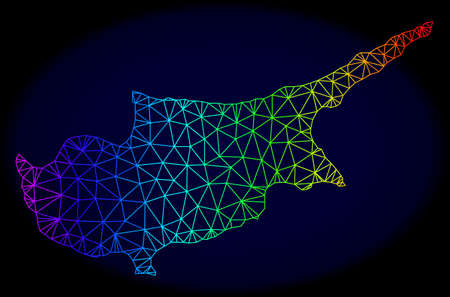 Rainbow colored mesh vector map of Cyprus Island isolated on a dark blue background. Abstract lines, triangles forms map of Cyprus Island. Carcass model for political templates.