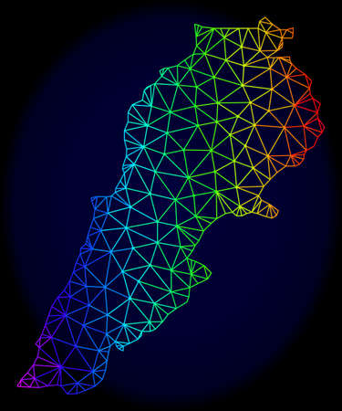 Spectrum colored mesh vector map of Lebanon isolated on a dark blue background. Abstract lines, triangles forms map of Lebanon. Carcass model for patriotic illustrations.
