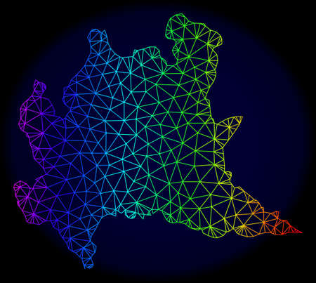 Rainbow colored mesh vector map of Lombardy region isolated on a dark blue background. Abstract lines, triangles forms map of Lombardy region. Carcass model for patriotic posters.