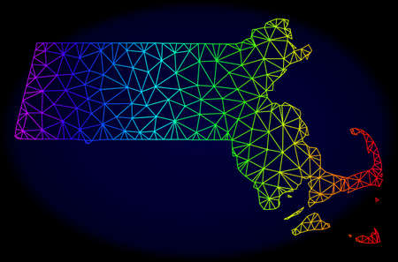 Spectrum colored mesh vector map of Massachusetts State isolated on a dark blue background. Abstract lines, triangles forms map of Massachusetts State. Carcass model for political templates. Vektorové ilustrace