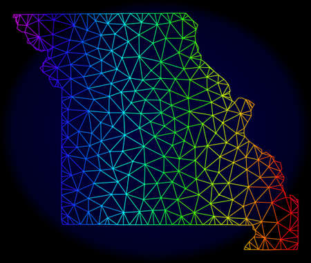 Spectrum colored mesh vector map of Missouri State isolated on a dark blue background. Abstract lines, triangles forms map of Missouri State. Carcass model for political purposes.