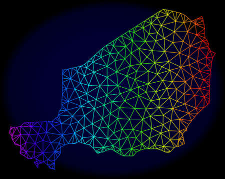 Rainbow colored mesh vector map of Niger isolated on a dark blue background. Abstract lines, triangles forms map of Niger. Carcass model for patriotic posters.