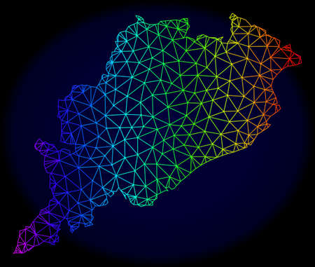 Spectrum colored mesh vector map of Odisha State isolated on a dark blue background. Abstract lines, triangles forms map of Odisha State. Carcass model for political posters. Vektorové ilustrace