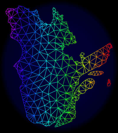Spectrum colored mesh vector map of Quebec Province isolated on a dark blue background. Abstract lines, triangles forms map of Quebec Province. Carcass model for political templates.