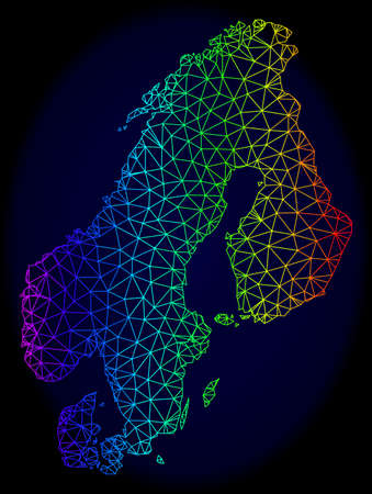 Rainbow colored mesh vector map of Scandinavia isolated on a dark blue background. Abstract lines, triangles forms map of Scandinavia. Carcass model for political posters.
