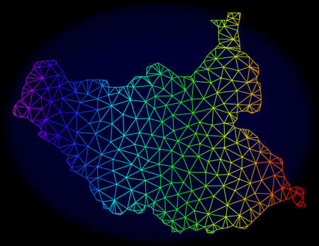 Spectrum colored mesh vector map of South Sudan isolated on a dark blue background. Abstract lines, triangles forms map of South Sudan. Carcass model for political illustrations.