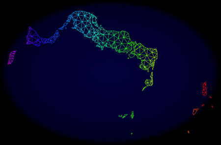 Spectrum colored mesh vector map of Turks and Caicos Islands isolated on a dark blue background. Abstract lines, triangles forms map of Turks and Caicos Islands.