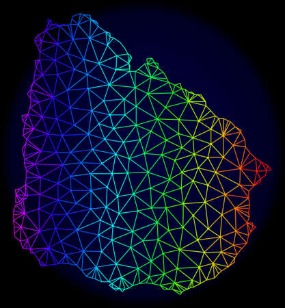 Rainbow colored mesh vector map of Uruguay isolated on a dark blue background. Abstract lines, triangles forms map of Uruguay. Carcass model for political templates.