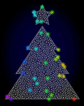 Glossy polygonal mesh christmas tree icon with glow effect on a dark background. Carcass christmas tree iconic vector with glamour multicolored dots in spectrum colors. Abstract white mesh lines,