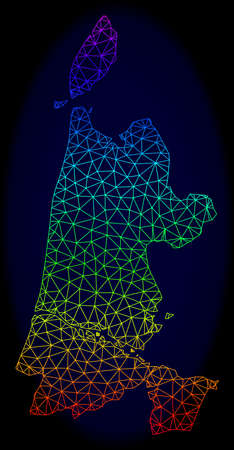 Rainbow colored mesh vector map of North Holland isolated on a dark blue background. Abstract lines, triangles forms map of North Holland. Carcass model for political templates.