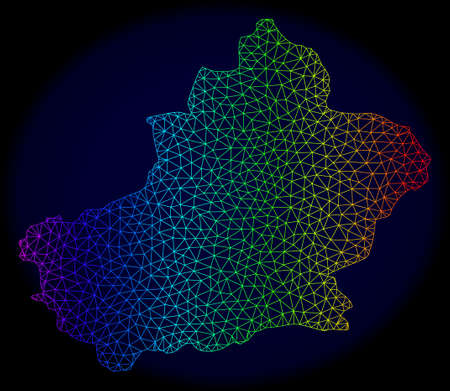 Spectrum colored mesh vector map of Xinjiang Uyghur Region isolated on a dark blue background. Abstract lines, triangles forms map of Xinjiang Uyghur Region. Carcass model for political posters.