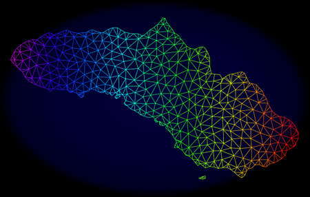 Spectrum colored mesh vector map of Sumba Island isolated on a dark blue background. Abstract lines, triangles forms map of Sumba Island. Carcass model for patriotic illustrations.