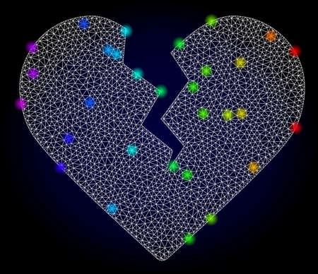 Glossy polygonal mesh divorce heart icon with glow effect on a dark background. Carcass divorce heart iconic vector with glowing multicolored dots in rainbow colors. Abstract white mesh lines,