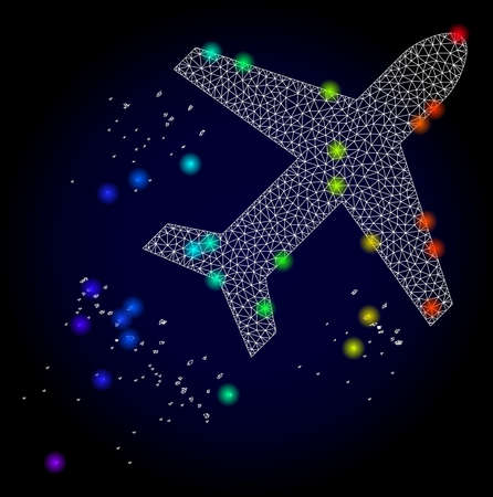 Glossy polygonal mesh flying air liner icon with glow effect on a dark background. Carcass flying air liner iconic vector with glamour multicolored dots in spectrum colors. Abstract white mesh lines,