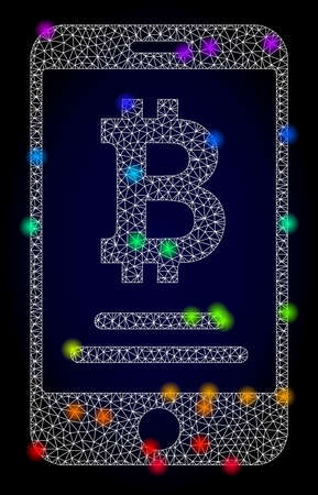 Glossy polygonal mesh mobile bitcoin account icon with glow effect on a dark background. Carcass mobile bitcoin account iconic vector with illuminated multi colored dots in spectrum colors. Vektoros illusztráció