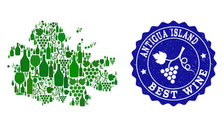 Vector collage of wine map of Antigua Island and best grape wine grunge seal stamp. Map of Antigua Island collage composed with bottles and grape berries bunches.