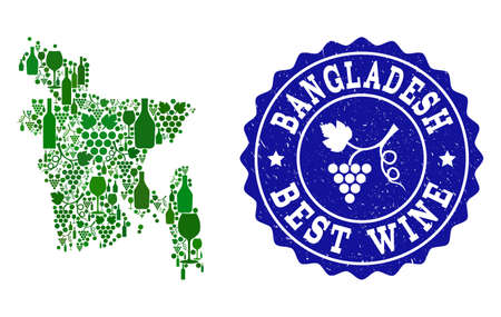 Vector collage of wine map of Bangladesh and best grape wine grunge stamp. Map of Bangladesh collage composed with bottles and grape berries bunches.