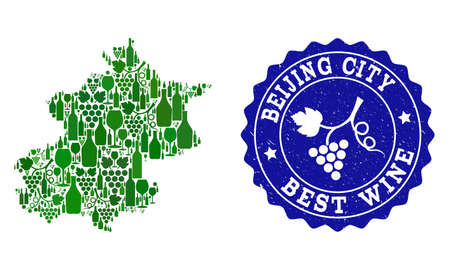 Vector collage of wine map of Beijing Municipality and best grape wine grunge seal. Map of Beijing Municipality collage designed with bottles and grape berries bunches.