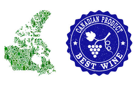 Vector collage of wine map of Canada and best grape wine grunge seal stamp. Map of Canada collage composed with bottles and grape berries bunches.