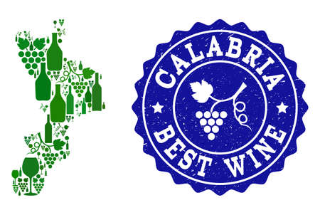 Vector collage of wine map of Calabria region and best grape wine grunge seal stamp. Map of Calabria region collage composed with bottles and grape berries bunches. Ilustração