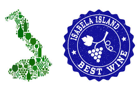 Vector collage of wine map of Galapagos - Isabela Island and best grape wine grunge seal stamp. Map of Galapagos - Isabela Island collage created with bottles and grape berries bunches.