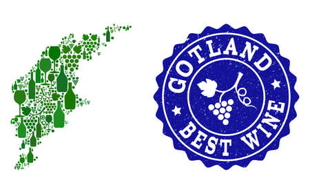 Vector collage of wine map of Gotland Island and best grape wine grunge seal stamp. Map of Gotland Island collage composed with bottles and grape berries bunches.