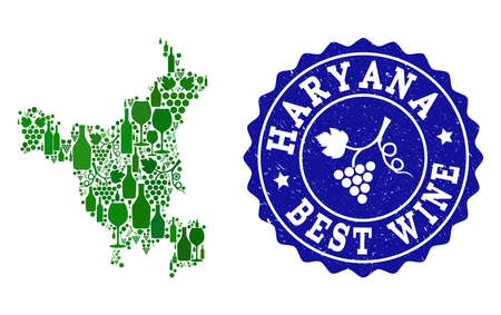 Vector collage of wine map of Haryana State and best grape wine grunge stamp. Map of Haryana State collage designed with bottles and grape berries bunches. Ilustração