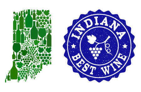 Vector collage of wine map of Indiana State and best grape wine grunge seal stamp. Map of Indiana State collage composed with bottles and grape berries bunches. Illustration