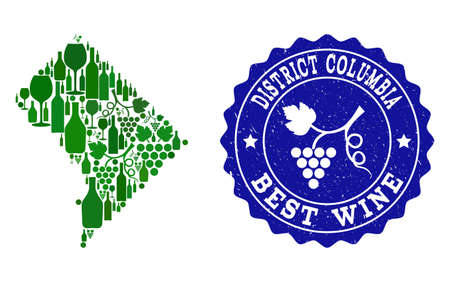 Vector collage of wine map of District Columbia and best grape wine grunge seal. Map of District Columbia collage designed with bottles and grape berries bunches.