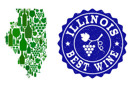 Vector collage of wine map of Illinois State and best grape wine grunge seal. Map of Illinois State collage composed with bottles and grape berries bunches. Ilustração