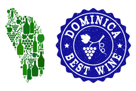 Vector collage of wine map of Dominica Island and best grape wine grunge seal. Map of Dominica Island collage composed with bottles and grape berries bunches. 向量圖像