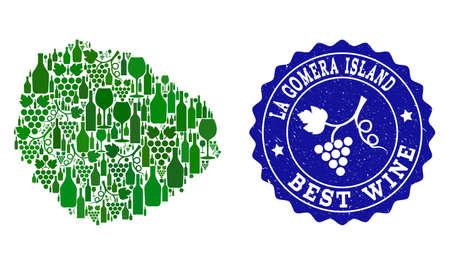 Wektor kolaż mapy wina wyspy La Gomera i najlepszy znak wodny grunge wina gronowego. Mapa kolażu wyspy La Gomera skomponowana z butelek i kiści winogron.