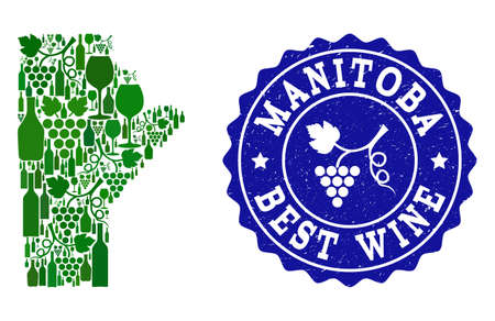 Vector collage of wine map of Manitoba Province and best grape wine grunge seal stamp. Map of Manitoba Province collage formed with bottles and grape berries bunches. Illustration