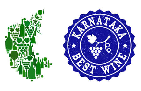 Vector collage of wine map of Karnataka State and best grape wine grunge stamp. Map of Karnataka State collage formed with bottles and grape berries bunches.