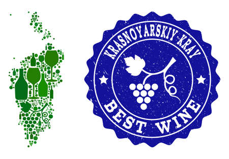 Vector collage of wine map of Krasnoyarskiy Kray and best grape wine grunge seal stamp. Map of Krasnoyarskiy Kray collage formed with bottles and grape berries bunches.