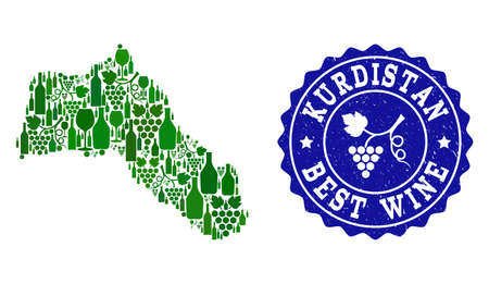 Vector collage of wine map of Kurdistan and best grape wine grunge seal. Map of Kurdistan collage designed with bottles and grape berries bunches.
