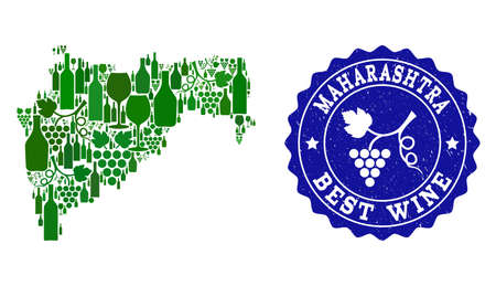 Vector collage of wine map of Maharashtra State and best grape wine grunge seal stamp. Map of Maharashtra State collage composed with bottles and grape berries bunches.