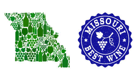 Vector collage of wine map of Missouri State and best grape wine grunge seal stamp. Map of Missouri State collage composed with bottles and grape berries bunches.