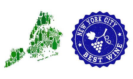 Collage vettoriale della mappa dei vini di New York City e del miglior timbro grunge di vino d'uva. Mappa del collage di New York City disegnato con bottiglie e grappoli di acini d'uva. Vettoriali